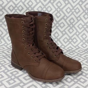 Womens Bobbie Brown Lace Up Combat Boots Size 7